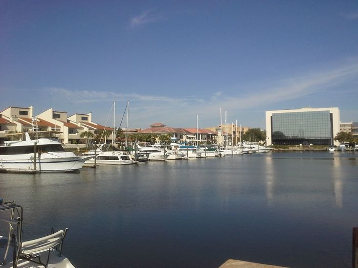 Boats and yachts docked at Port Royal in Pensacola, Florida Beauty In Nature Blue Boat Cloud Cloud - Sky Day Harbor Mast Nature Nautical Vessel No People Outdoors Pensacola Florida Port Royal Pensacola Sailboat Scenics Sky Tranquil Scene Tranquility Water