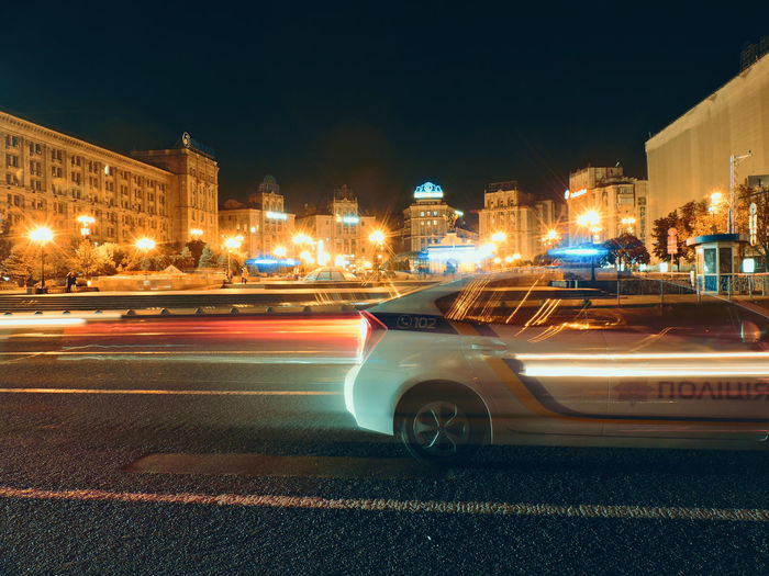 Kiev Police Freezlight Car Night Light Speed Street City City Street Road First Eyeem Photo