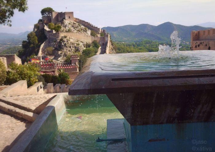 Eye4photography  Castle Water El Castillo Water Fountain Burg región València in Xativa , SPAIN España