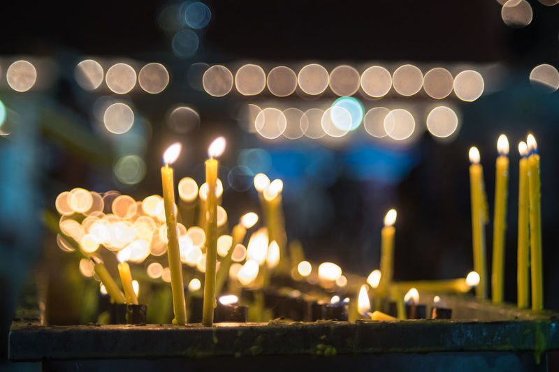 Defocused image of illuminated candles