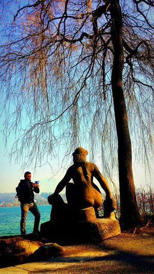 Portrait Stone Sculpture Portrait Enjoying The Day 💛 My Friend 🌹 Sun #clouds #sky #photography #love #wonderful #luzern #swiss Luzern