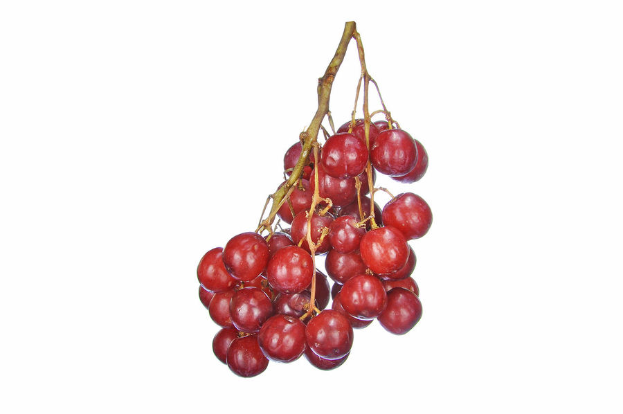 crimson grape isolated on white Bunch Cluster Crimson Crimson Grape Fruit Grape Juicy Red Vitamin