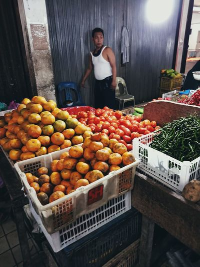 Fruits in market stall for sale