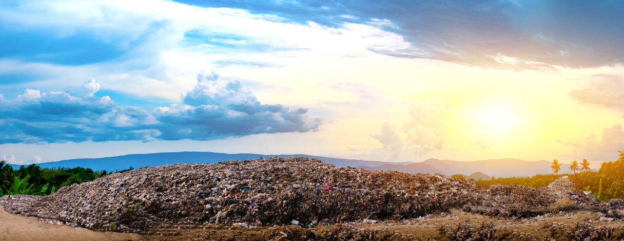 Mountain large garbage pile and pollution