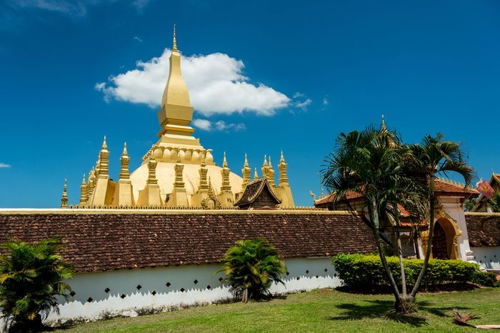 Pha That Luang Architecture Buddhism Buddhist Temple Famous Place Gold Holy Laos Majestic Pha That Luang Temple Tourism Tourist Attraction  Travel Destinations Vientiane