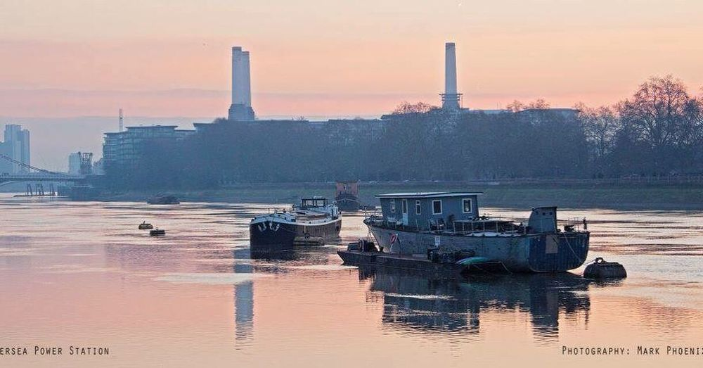 River thames Early Mornng River Thames Barge Battersea Power Station Reflection Still Water