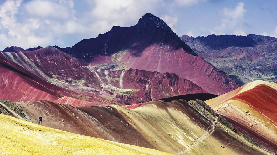 Peru Travel Travel Destinations Rainbow Colorful Woman Hiking One Person Climbing Mountain Sky Landscape Mountain Range Cloud - Sky Arid Climate Geology Desert Rugged This Is Latin America Going Remote