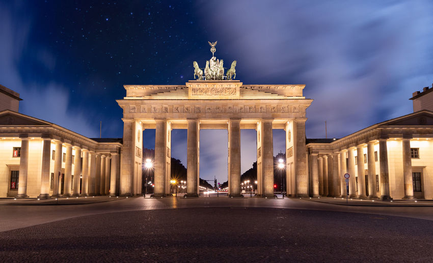 Illuminated Architecture Night Built Structure City Travel Destinations Sculpture City Gate History Building Exterior The Past Sky Architectural Column Monument Tourism Memorial Street Travel No People Outdoors Neo-classical Berlin Brandenburger Tor