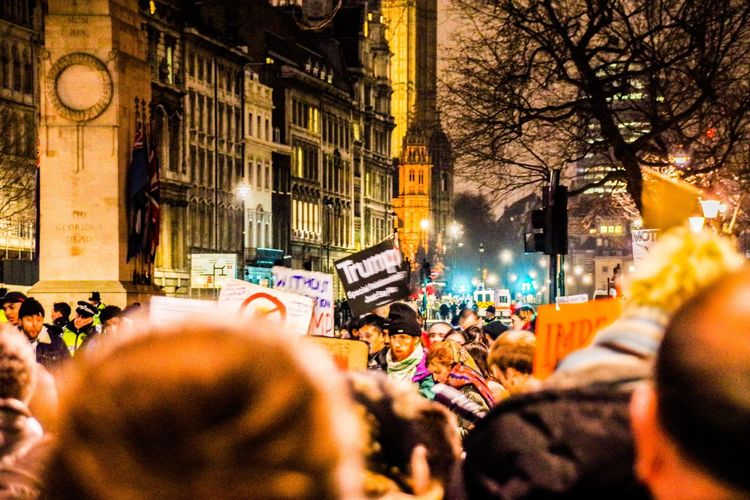London - January 2017 Europe Britain Uk London Trump Protest Large Group Of People Crowd Architecture Real People Building Exterior Flag City