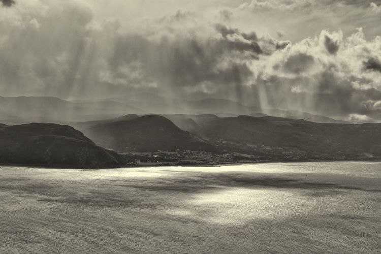 Rain over Snowdonia Beauty In Nature Blackandwhite Photography Conwy Estuary Dramatic Sky Great Orme Landscape Llandudno North Wales Mountain Mountain Range No People Rain Coming