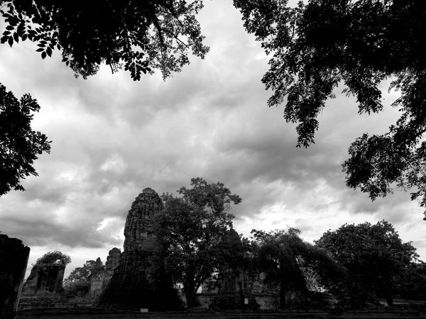 Cloud - Sky Sky Ayutthaya Thailand Monochrome Blackandwhite Temple Thailandtravel ThailandTemple Black&white