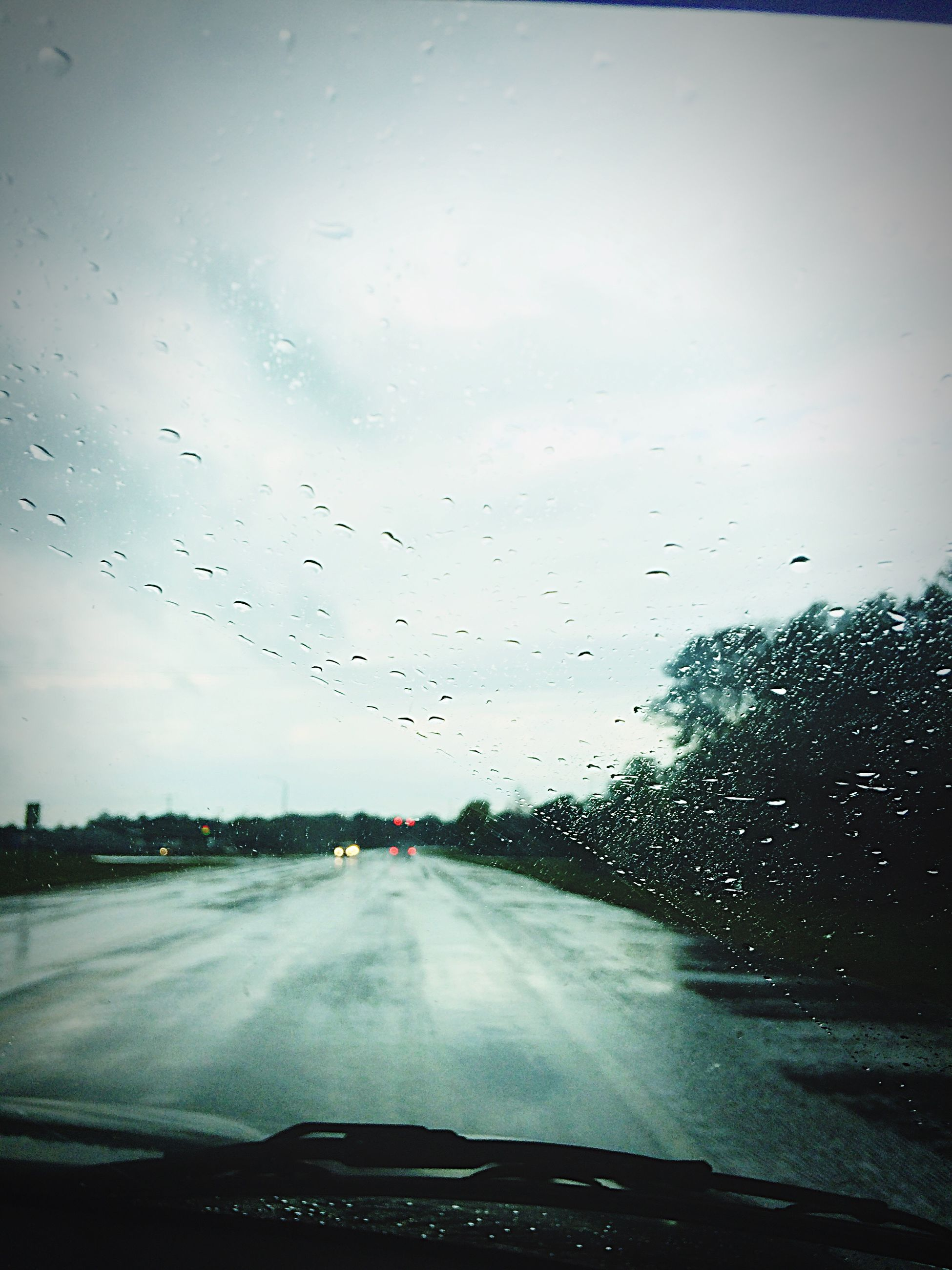 glass - material, windshield, car, wet, transparent, transportation, rain, window, vehicle interior, car point of view, drop, weather, car interior, no people, water, road, land vehicle, the way forward, nature, tree, sky, close-up, indoors, day