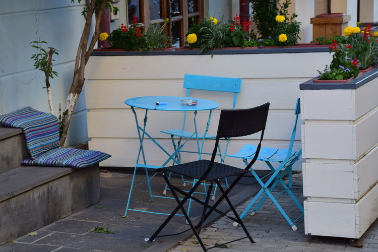 Chair No People Outdoors Day Restaurant Seeting Up Vintage Blue Old Clasic