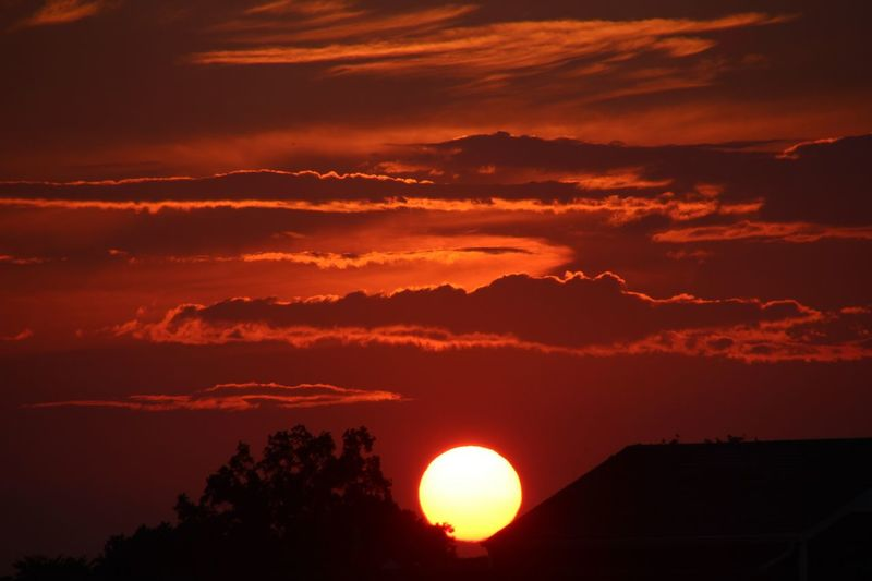 And The Sun Slowly Sets.... Orange Color Scenics Beauty In Nature