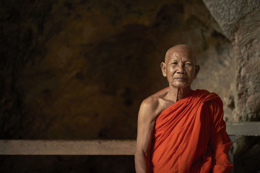 Portrait of a monk in a Cave temple around Kanchanaburi Buddha Buddha Buddism Cave Face Orange Orange Color Portrait Religion Religious  Smile Spirituality Statue Stranger Temple Tourism