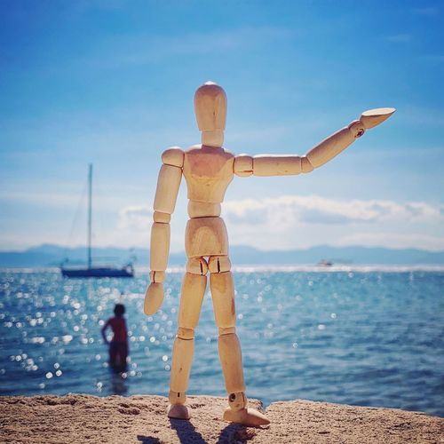 Everybody loves the sunshine ☀️ Greece Beach Life Beach Photography Yachting Woodyforest Travelphotography Water Sea Sky Beach Land Nature One Person Scenics - Nature Leisure Activity Lifestyles Horizon Over Water