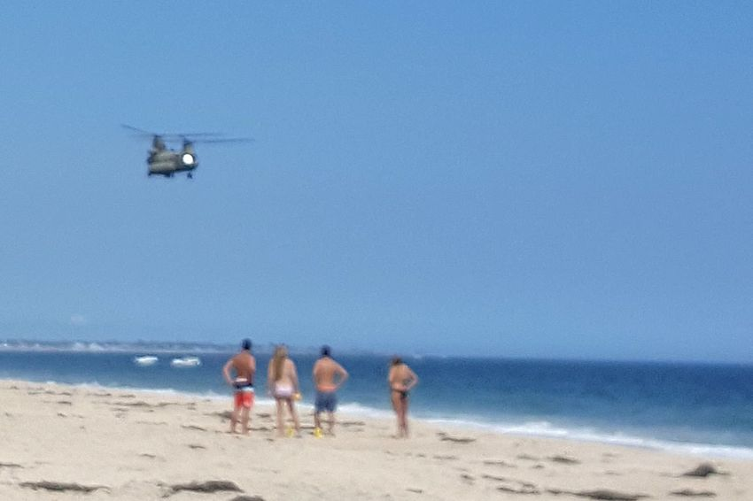 Beach Sand Sea People Summer Helo Blue Helicopter Flying and buzzing Bathers Rhode Island