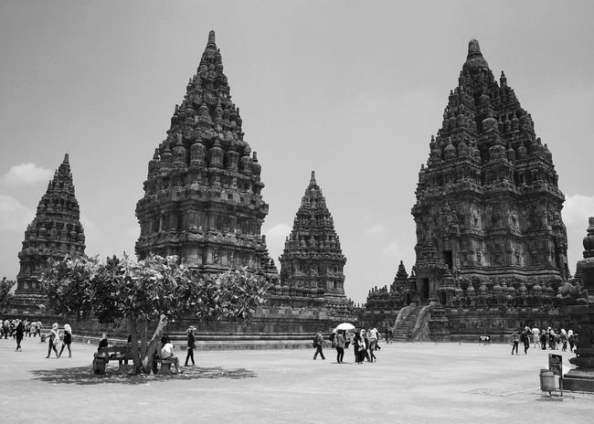 Place Of Worship Religion Spirituality Travel Destinations Building Exterior Real People Tourism Travel Large Group Of People Leisure Activity Architecture Lifestyles Built Structure Outdoors Men Sky Day Visiting INDONESIA Prambanan Temple Prambanan Yogjakarta Black & White From Where I Stand Ancient Architecture