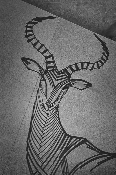 Impala antelope created with tape TAPE OVER Tape Art Streetart Streetphotography