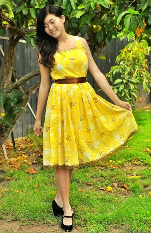 Esther Feng Modeling Yellow Dress Anonymousnate Gorgeous Trees Smiling Joyful Vintage Sundress Outdoor Photography