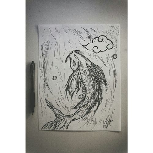 My 4am creation. I don't draw or sketch as often anymore, ever since I began photography years back but I like the results I get every once in a while. Added a little akatsuki cloud cause I was watching the new episode they released at 3 am(from Naruto) yes, I was nerding the f*ck out. Judge me, but I still liked this regardless. Back to taking cute pictures... #epphotography #sketch #koi fishy #fish #ink #pen #sweg #epdrawing #epsketch #lol