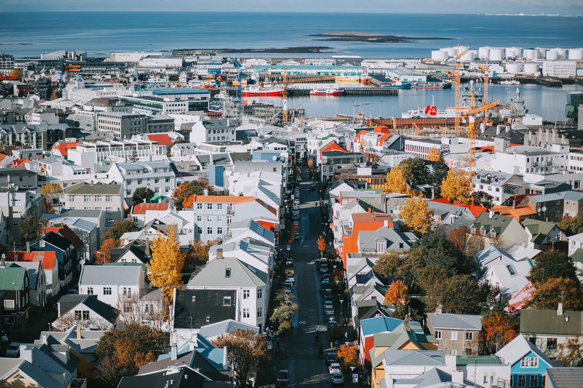 Autumn Iceland Reykjavik Road Travel Architecture Beauty In Nature Building Exterior Built Structure Canon Cityscape Day High Angle View House Nature Outdoors Residential Building Roof Scenics Sea Sky Town Travel Destinations Tree
