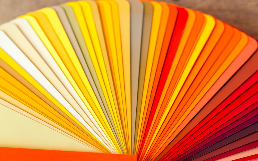 Close-up of colorful color swatches