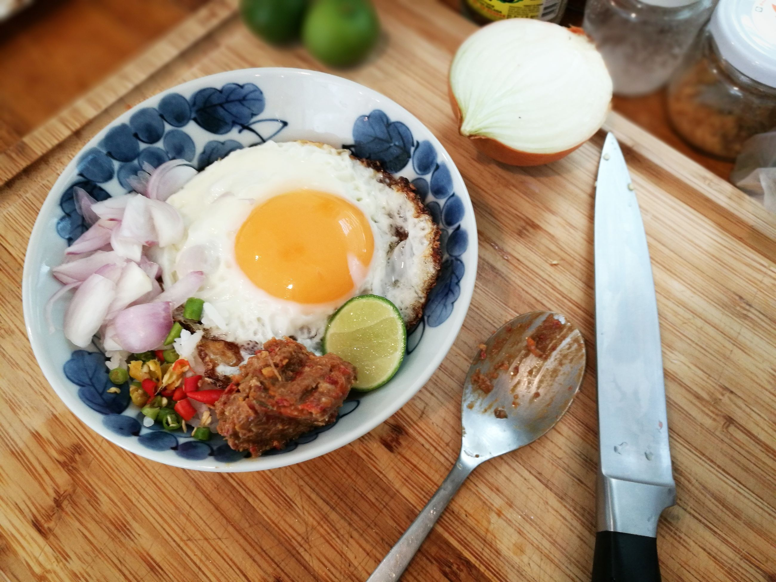 food and drink, egg, food, high angle view, table, indoors, freshness, ready-to-eat, no people, fried egg, plate, healthy eating, bowl, close-up, breakfast, chopsticks, egg yolk, day