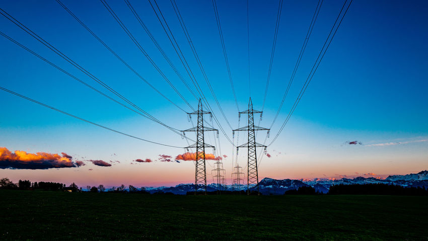 Beauty In Nature Blue Cable Clear Sky Electricity  Electricity Pylon Field Fuel And Power Generation Gormund Grass Idyllic Kapelle Landscape Nature Outdoors Power Line  Power Supply Scenics Sky Tranquil Scene Tranquility Water
