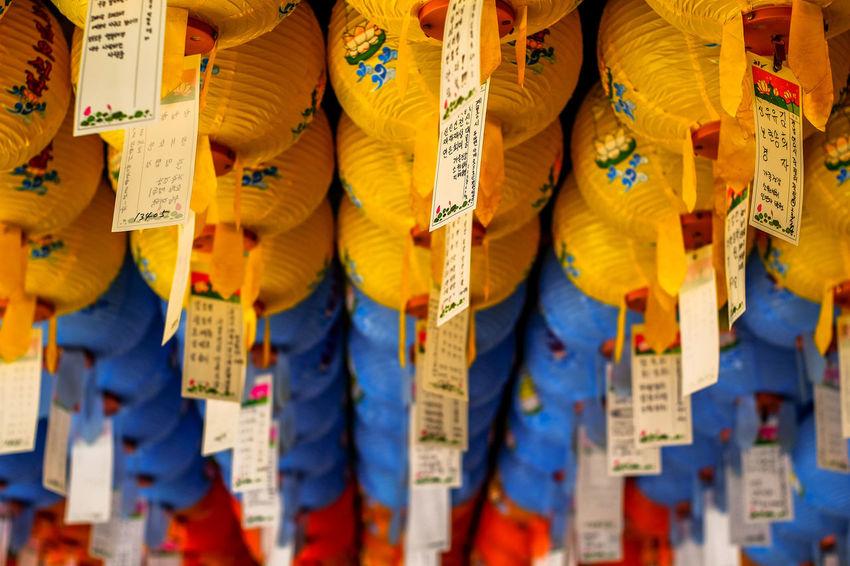 Hundred lanterns hanging at Bulguksa Temple ASIA Ancient Geongju Korea Lanterns Travel Blue Budhism Bulguksa Colorful Day Destination Hanging Heritage In A Row Temple Unesco Yellow