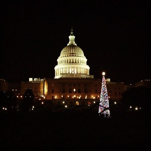 Christmas Tree at the US Capitol. #iphoneography #washingtondc Lights IPhoneography WashingtonDC Christmastree Christmaslights Jomo Thecapitol Uscapitol