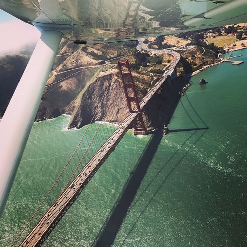 Water Day Transportation Sea Scenics High Angle View Outdoors No People Nofilter Noedit Architecture Mode Of Transport Let's Go. Together. San Francisco Golden Gate Bridge Airplane
