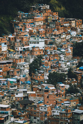 Aerial view of dense housing of the rocinha favela in, rio de janeiro - brazil