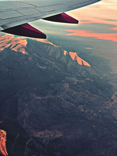 New Mexico Manzano Mountains Morning Light Air Vehicle Airplane Aircraft Wing Flying Transportation Scenics - Nature Mode Of Transportation Beauty In Nature Aerial View Travel Mountain Landscape Nature Environment Tranquil Scene Mid-air Land Day