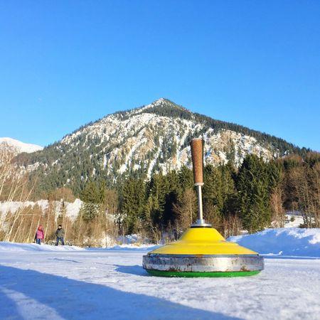Bavarian Curling Curling Eisstock Winter Sport Allgäu Frozen Lake Mountain Sunlight Winter Snow