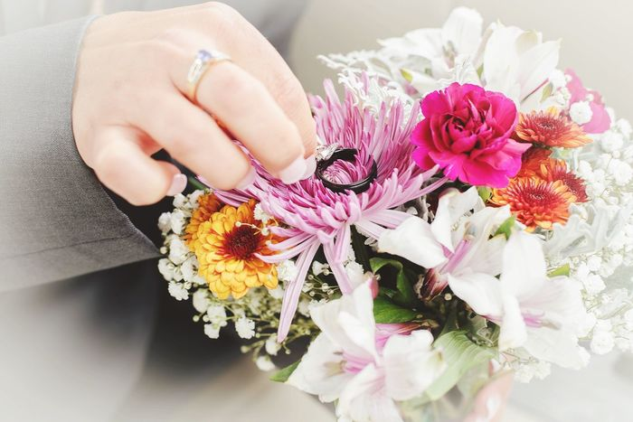 Wedding day! Flower Human Hand Human Body Part Holding Close-up Wedding Flowers Wedding Flowers Pink Flower Flower Arrangement Rings 💍 Rings Wedding Rings Bouquet Floral Nails Nail Polish