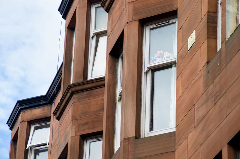 If they match up the window might disappear :/ Architecture Blocks Building Building Exterior City Cloud Colour Day Glsago Ledge Low Angle View No People Red Sandstone Residential Building Sand Scotland Sky Tenements Tetris Toy Window