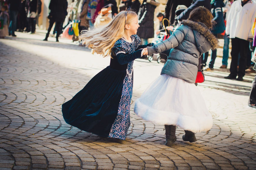 Carnival Dancing Fun Happy Princess Sisters City Costume Day Full Length Germany Girls Outdoors People Real People Street Two People