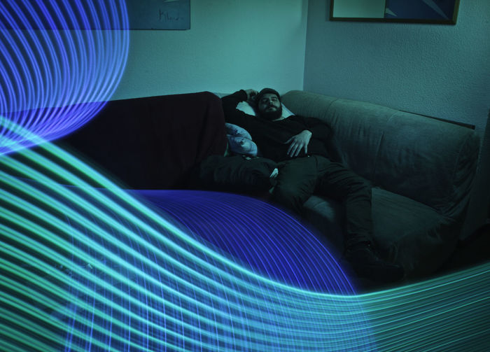 Blue Couch Domestic Life Dreamlike Green Color Indoors  Light Painting Light Wand Living Room Long Exposure One Person People Sleeping Yongnuo YN360
