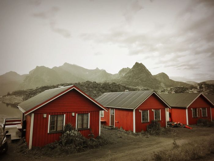 Houses Lofoten Norway Lofoten Islands Nature Norway Black And Red Colour Buiildings In Nature House Formation Mountain No People Red House Sky
