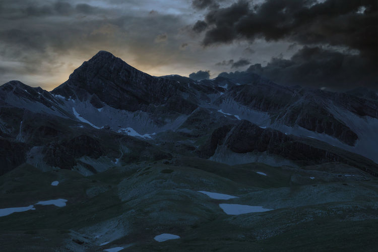 Close-up view of the mountains of the laga and of the gran sasso abruzzo during sunset