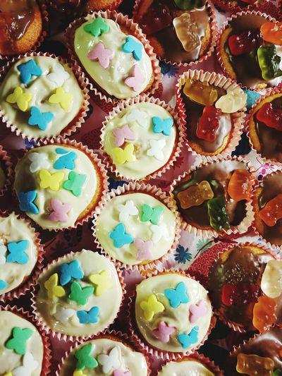 Full frame shot of cupcakes