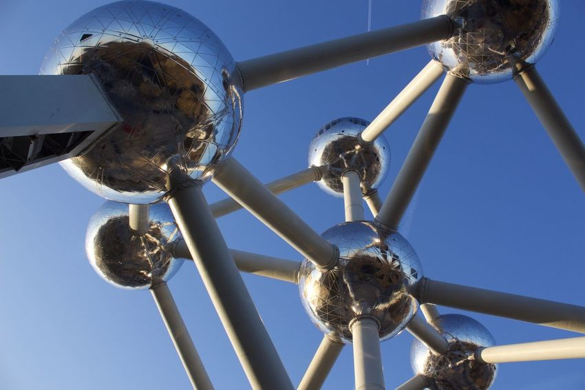Architectural Column Architecture Atomium Atomium.Belgique. Atomiumbrussels Belgium Blue Brussels Clear Sky Clear Sky Day Fifties Low Angle View No People Outdoors Silver  Sky Tower Vintage World Exhibition World Expo