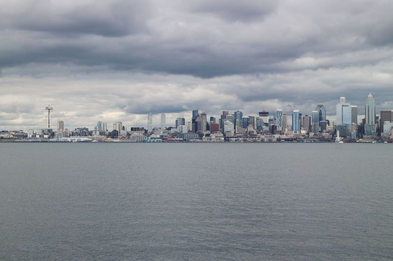 Downtown Moody Sky Pacific Northwest  Puget Sound Seattle Skyline West Seattle Architecture City Cityscape Cloud - Sky Downtown Seattle Gray Gray Background Moody Overcast Sky Water Waterfront