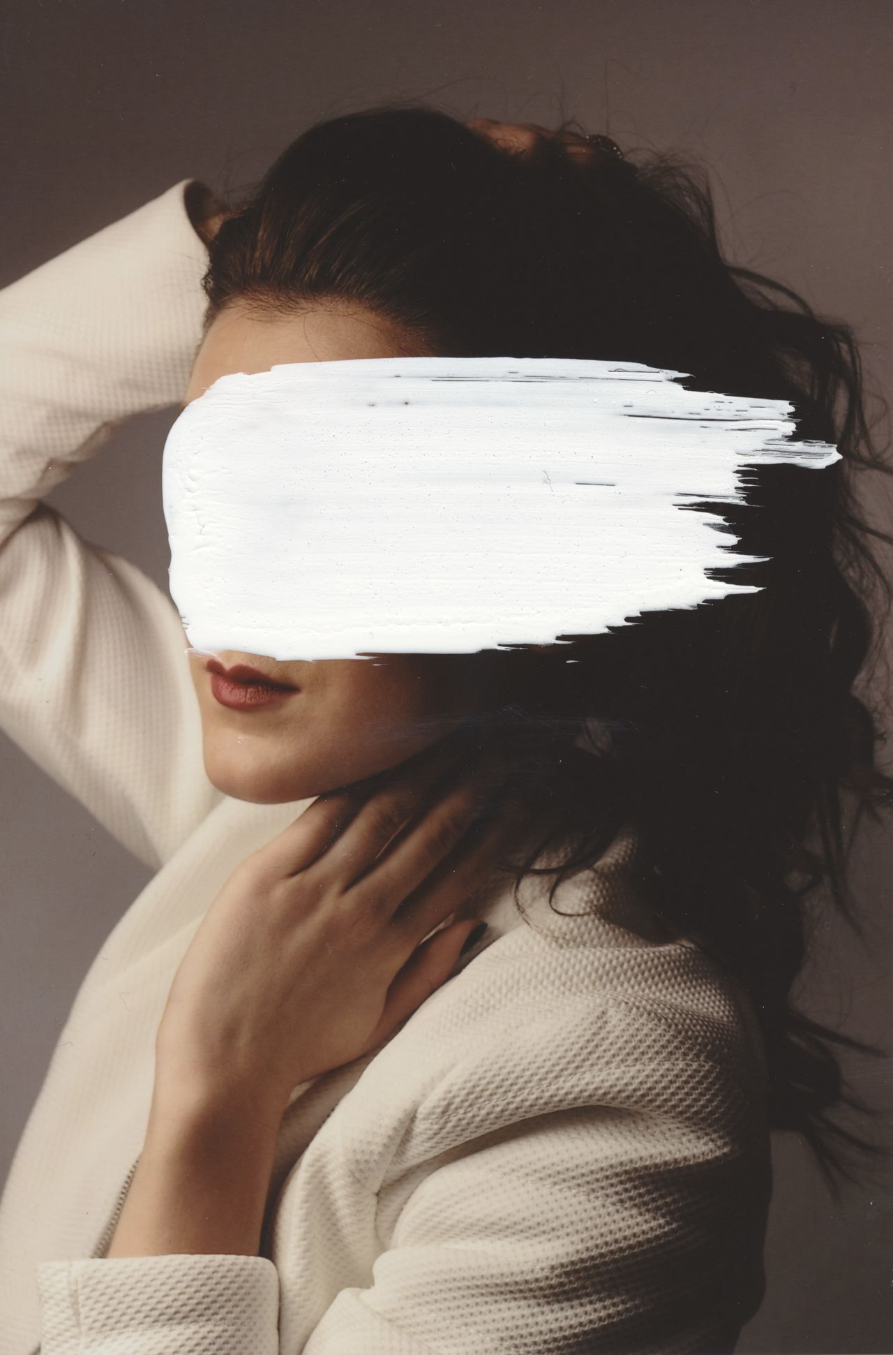 Close-up of woman with obscured face