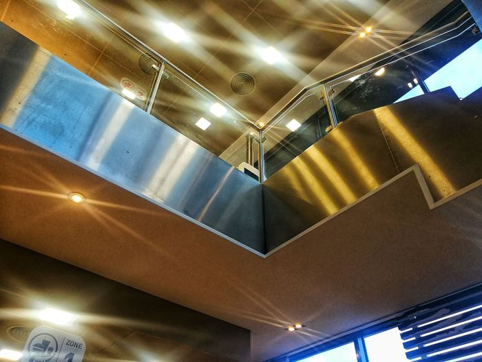 Mc Donalds Metal Interior Illuminated Ceiling Lighting Equipment Low Angle View Indoors  No People Architecture