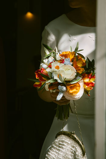 Close-up of white rose bouquet in vase