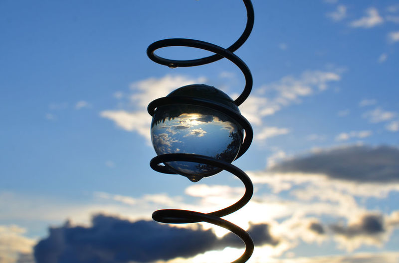Close-up of crystal ball in coiled spring