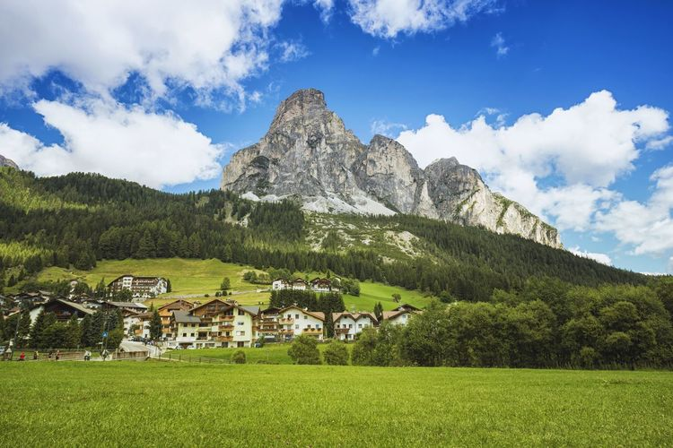 Scenic view of mountains at corvara