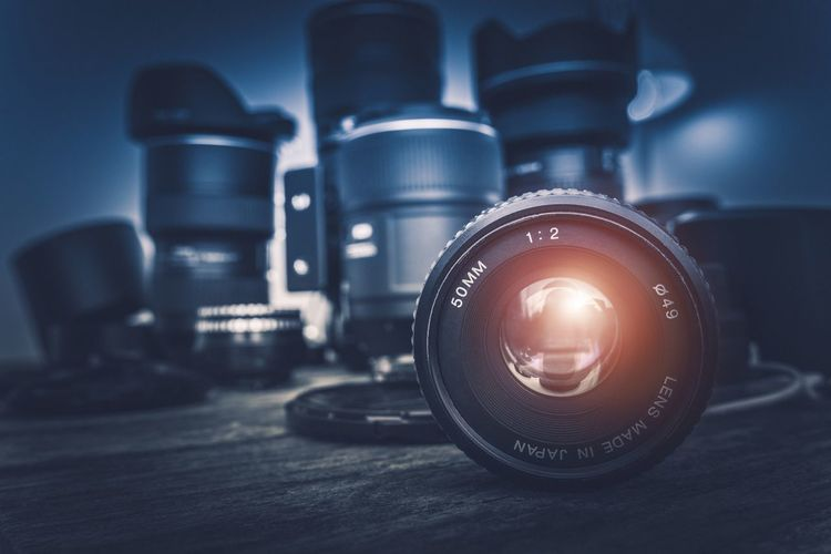 Professional Photo Lenses and the Photography Equipment Concept. Camera - Photographic Equipment Close-up Day Equipment Imagery Imaging Indoors  Lens Lenses No People Optic Photo Lens Photographer Photography Photography Themes Professionalphotography Technology